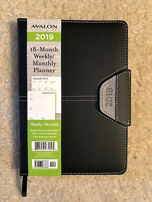 NEW Avalon 2019 Weekly Monthly Planner Calendar Purple Textured 18 Month 6x8