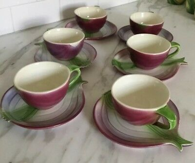 Will George Pottery Red Onion Cup & Saucer - Perfect Set Of 6