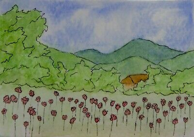 ACEO Original watercolor, poppies, mountains, flowers, house, trees, sky, clouds