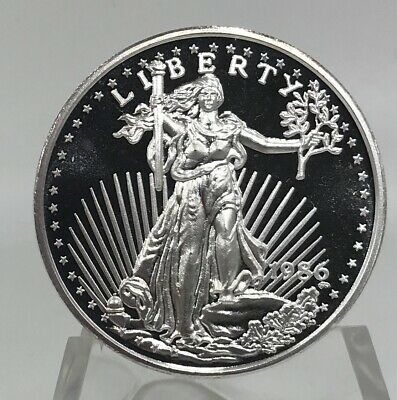 1986 Two Troy Ounce .999 Fine Silver Round, High Relief Saint Gaudens