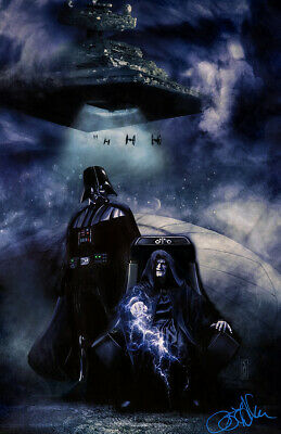 Star Wars Emperor Palpatine and Darth Vader Original Art signed by Scott Harben