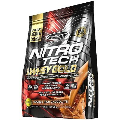 (Double Rich Chocolate) - MuscleTech NitroTech 100% Whey Gold, Whey Isolate &
