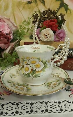 queens october daisy a churchill product fine bone china teacup and saucer