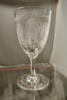 Fine Engraving On This Small Cut Glass Stem, Either English Or American