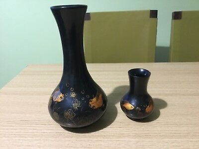 Vintage Oriental Japanese Wooden Lacquer Vases with Goldfish Decoration