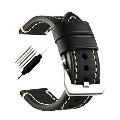Genuine Leather Watch Band Watch Strap THICK Longer Wrist Band Buckle 24mm Black