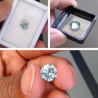 1.36 CT 7.5 MM Light Blue Round Brilliant Diamond Cut Real Moissanite For Ring
