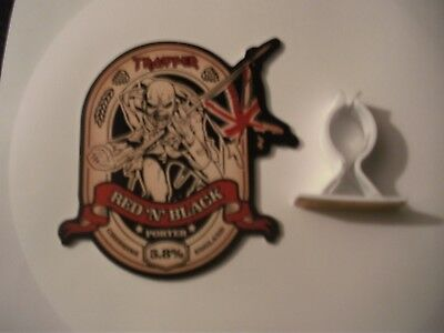 Brand new & RARE Iron Maiden Trooper Red & Black beer pump clip badge, mancave