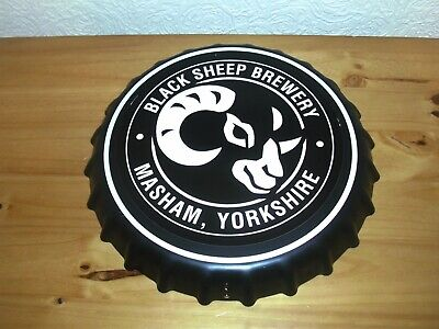 """Brand new Black Sheep Brewery 14"""" novelty metal bottle top wall sign, mancave"""
