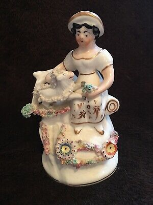 RARE ANTIQUE 19c STAFFORDSHIRE FIGURINE STATUE OF WOMEN WITH SHEEP