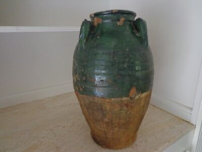 Ancient European Pottery Terracotta Olive Oil Jar In Deep Green Glaze As Found