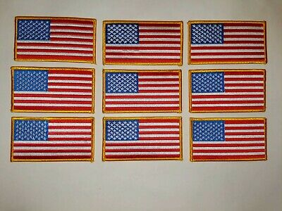 """USA AMERICAN FLAG EMBROIDERED PATCH IRON-ON SEW-ON GOLD BORDER (4"""" x 2¼"""")"""