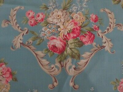 Oh My Vintage 1940's Robin's Egg Blue/Ocean Blue with ROSES & Scrolls Fabric #2