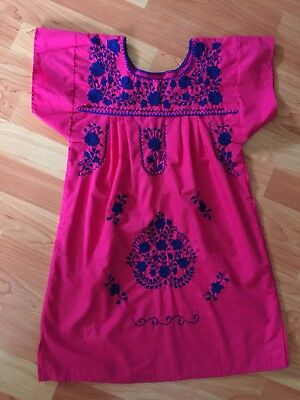 Vtg Mexican Floral Embroidered Pink Girls Toddlers Dress Summer