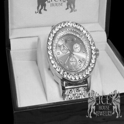 Full Iced Out White Gold Tone  New Real Diamond Custom Band Big Face Watch Men's