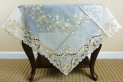 Grant Linen Fabric  Embroidery Cutwork  Tablecloth Topper and runner