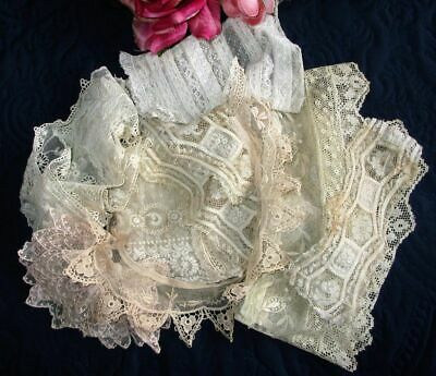 Antique Lot Fine French Cotton Lace Trim~Flounces~Collars~Sleeves~10 Pieces
