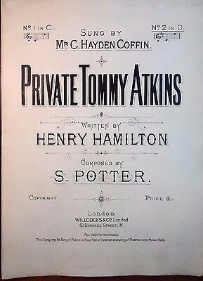 WWI Antique Vocal Sheet Music PRIVATE TOMMY ATKINS 1917 Large Format