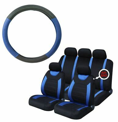 Blue Steering Wheel Cover & 8 Piece Seat Cover Washable Airbag Safe Full Set