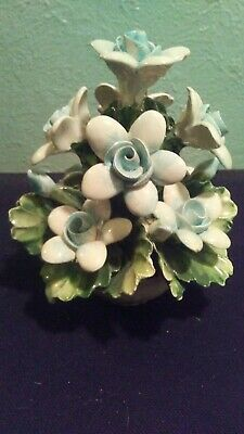 Capodimonte Floral Design Of Blue / White Flowers 5 1/2 Inches Tall