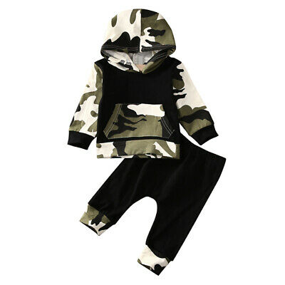 New Tops+pants Set & Baby Infant Boy Kids Hooded Clothes Toddler Girl Unisex
