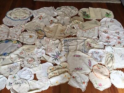 Lot 5 —- Bulk Doilies. Embroidered Lace Edge Crinoline Lady Flowers Red Robin 55