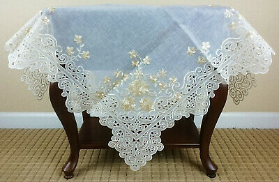 Grant Linen Fabric Color Embroidery Cutwork  Tablecloth Topper and runner