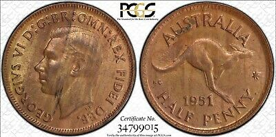1951(p) Half Penny With Dot Obverse Type 5 PCGS Graded MS63RB Coin