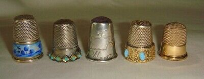 Lot of 5 - Vintage Thimbles - Sterling, Gold, Jeweled, Enameled