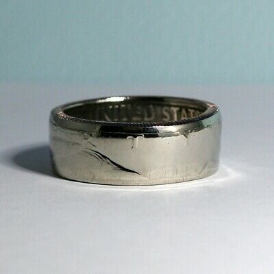 1973 JFK Liberty Half Dollar COIN RING, USA Kennedy Size 8 - 13 1/2 Polished