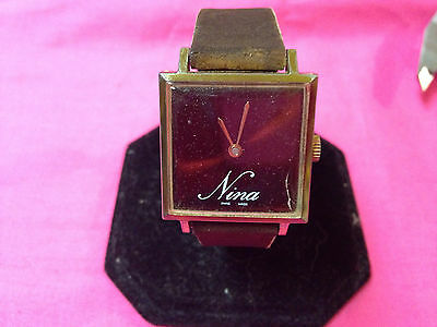 "Vintage/Rare ""Nina"" swiss made hand winding ladies watch,runs,shows wear     L66"