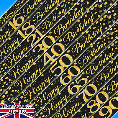 Happy Birthday Banner Sparkling Fizz Black & Gold Holographic 9ft long All Ages