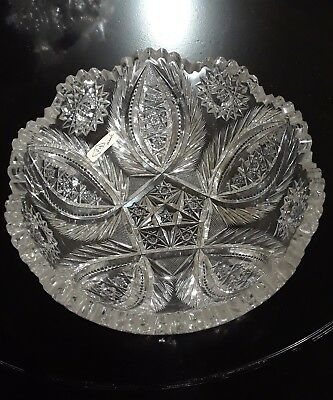 """Pitkin and Brooks ABP American Brilliant Cut Bowl 8"""" wide and 3 1/2"""" Tall Marked"""