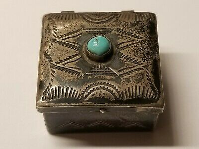 VINTAGE Navajo Indian Silver Hand Made Turquoise Pill Box Snuff Case Antique