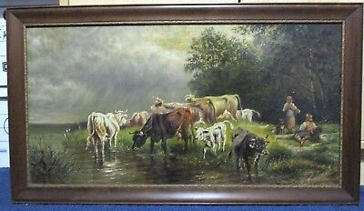 19th Century OIL PAINTING On Board Cows Drinking Water Woman Getting Water