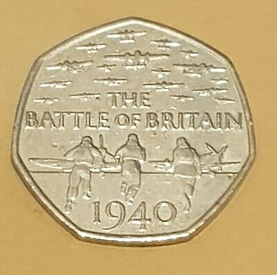 2015 50P Fifty Pence Coin Battle Of Britain 5Th Portrait Rare Circulated