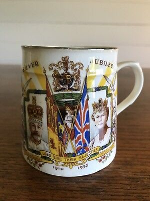Antique Delphine King George V And Queen Mary Silver Jubilee 1935 Mug