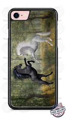 White and Brown Horses in Woods Phone Case for iPhone X 8 PLUS 8 Samsung etc