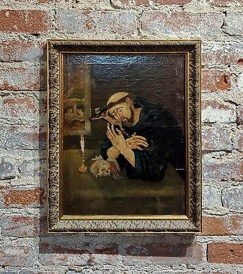18th century Spanish colonial- Saint Francis of Assisi -Oil painting