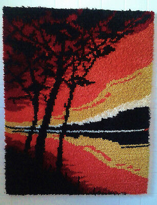 Large 100% Pure New Wool Latch Hook Rug/wall Hanging - Hand Made - Complete