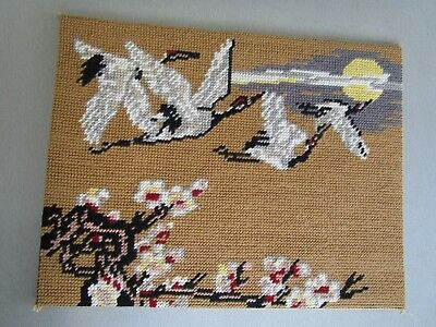 Flying ? Geese & Sun  & Cherry Blossoms Tapestry Attached To A Board