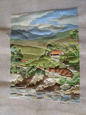 Completed Long Stitch Of Houses By A River 34.5Cms High X 27Cms Wide