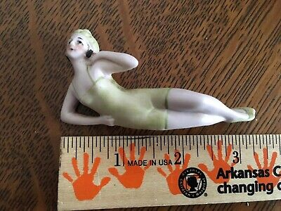 Vintage Germany Bathing Beauty Figurine Side Laying Naughty Bisque