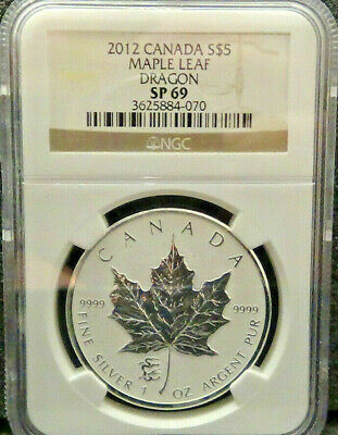 2012 Canadian Silver Maple Leaf Dragon Privy Mark 1oz NGC SP69 Reverse Proof