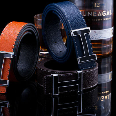H Belt Mens Fashion Luxury Brand Buckle Smooth Leather Belts For Mens Designer