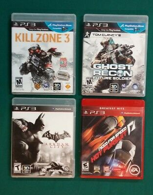 Sony Playstation PS3 Games Ghost Recon Batman Killzone 3 Need for Speed Lot of 4