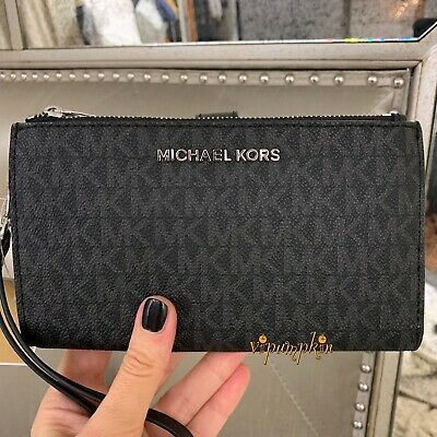 11ae0f34c9652 MICHAEL KORS JET Set Travel Double Zip Wristlet MK PVC Phone Case Wallet  Black -  65.95
