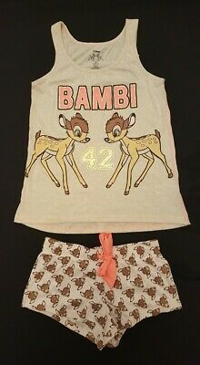 PRIMARK Ladies DISNEY BAMBI Cami Vest T Shirt Shorts Pyjama Set PJ'S UK Pyjamas