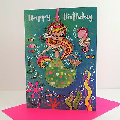 Rachel Ellen Mermaid Sea Horse Happy Birthday Card Gift Tag Keepsake Jewel/MAR9