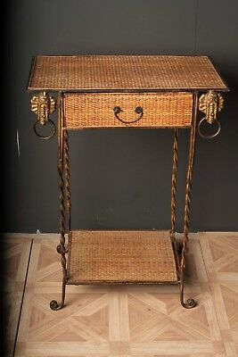 Antique Empire Style Metal and Wicker Side Table